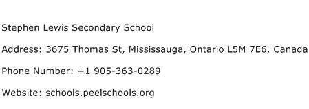 Stephen Lewis Secondary School Address Contact Number
