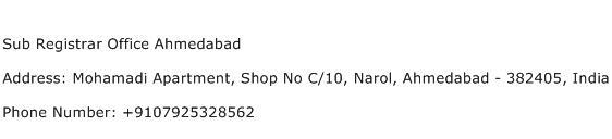 Sub Registrar Office Ahmedabad Address Contact Number