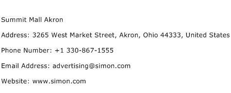 Summit Mall Akron Address Contact Number