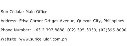 Sun Cellular Main Office Address Contact Number