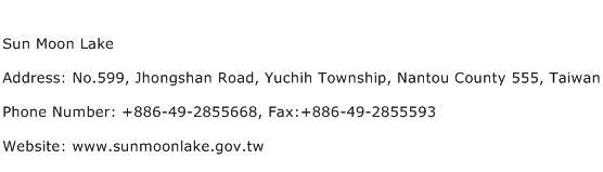Sun Moon Lake Address Contact Number