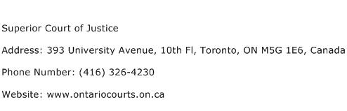 Superior Court of Justice Address Contact Number