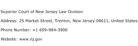 Superior Court of New Jersey Law Division Address Contact Number