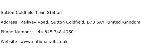 Sutton Coldfield Train Station Address Contact Number