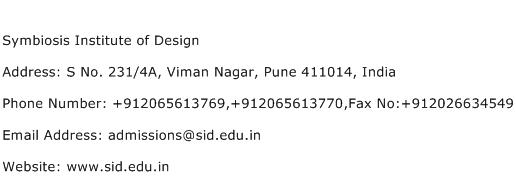 Symbiosis Institute of Design Address Contact Number