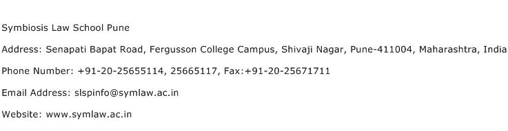 Symbiosis Law School Pune Address Contact Number