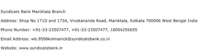 Syndicate Bank Maniktala Branch Address Contact Number
