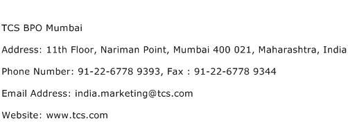 TCS BPO Mumbai Address Contact Number