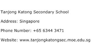 Tanjong Katong Secondary School Address Contact Number