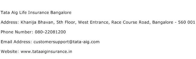Tata Aig Life Insurance Bangalore Address Contact Number