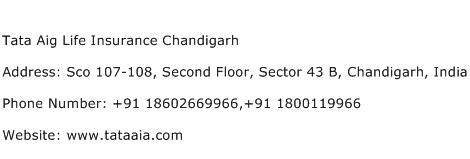 Tata Aig Life Insurance Chandigarh Address Contact Number