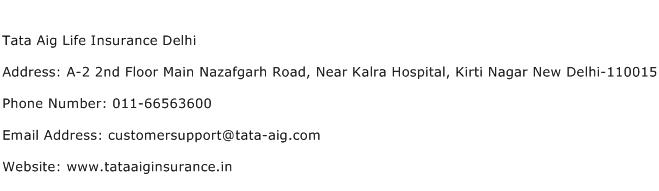 Tata Aig Life Insurance Delhi Address Contact Number