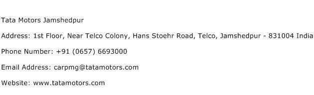 Tata Motors Jamshedpur Address Contact Number