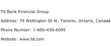 Td Bank Financial Group Address Contact Number