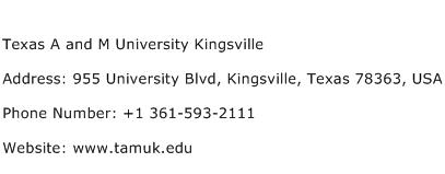 Texas A and M University Kingsville Address Contact Number