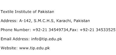 Textile Institute of Pakistan Address Contact Number