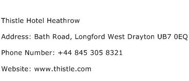 Thistle Hotel Heathrow Address Contact Number
