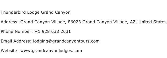 Thunderbird Lodge Grand Canyon Address Contact Number