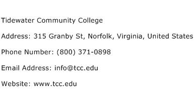 Tidewater Community College Address Contact Number