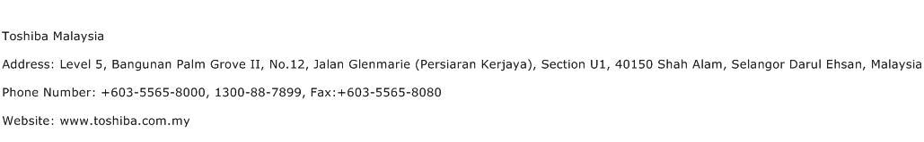 Toshiba Malaysia Address Contact Number