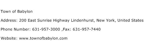 Town of Babylon Address Contact Number