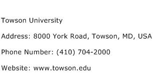 Towson University Address Contact Number