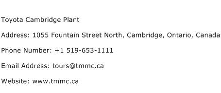Toyota Cambridge Plant Address Contact Number