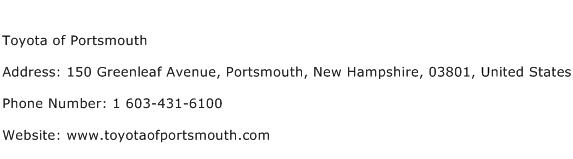 Toyota of Portsmouth Address Contact Number