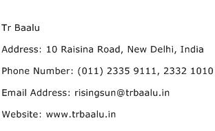 Tr Baalu Address Contact Number