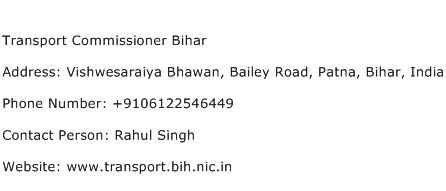 Transport Commissioner Bihar Address Contact Number