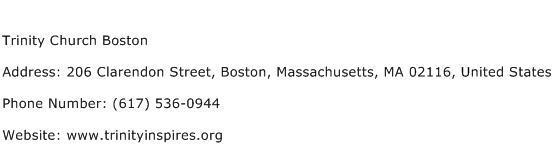 Trinity Church Boston Address Contact Number