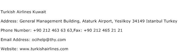 Turkish Airlines Kuwait Address Contact Number