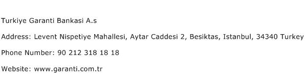 Turkiye Garanti Bankasi A.s Address Contact Number