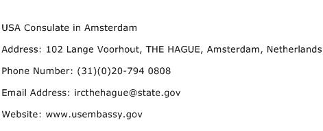 USA Consulate in Amsterdam Address Contact Number