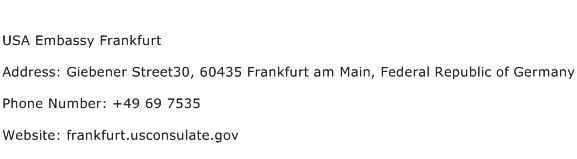 USA Embassy Frankfurt Address Contact Number