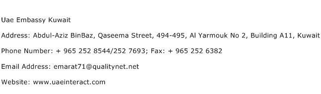 Uae Embassy Kuwait Address Contact Number