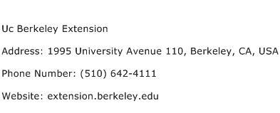 Uc Berkeley Extension Address Contact Number