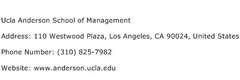 Ucla Anderson School of Management Address Contact Number