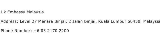 Uk Embassy Malaysia Address Contact Number