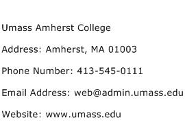 Umass Amherst College Address Contact Number