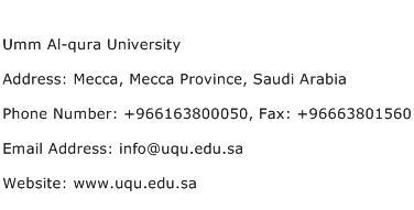 Umm Al qura University Address Contact Number