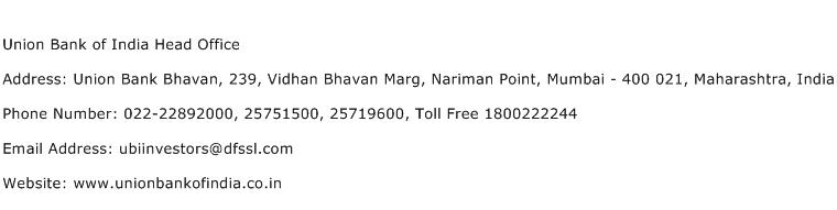 Union Bank of India Head Office Address Contact Number