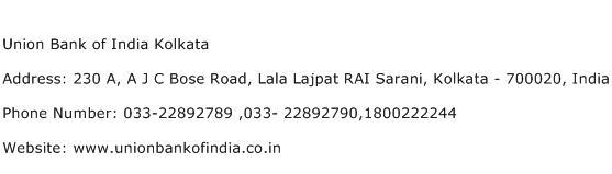 Union Bank of India Kolkata Address Contact Number