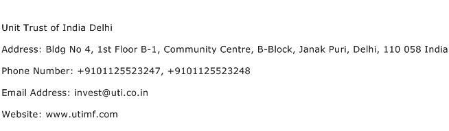 Unit Trust of India Delhi Address Contact Number