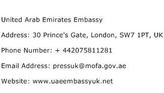 United Arab Emirates Embassy Address Contact Number