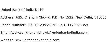 United Bank of India Delhi Address Contact Number