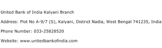 United Bank of India Kalyani Branch Address Contact Number