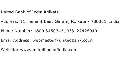 United Bank of India Kolkata Address Contact Number
