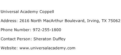 Universal Academy Coppell Address Contact Number