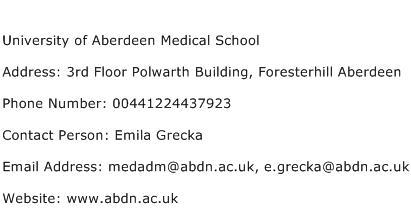 University of Aberdeen Medical School Address Contact Number